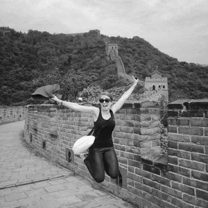 jump beijing great wall china victoria sidayoga