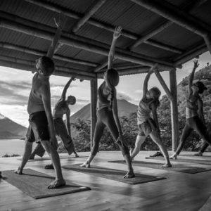 reverse warrior group class beginner yoga