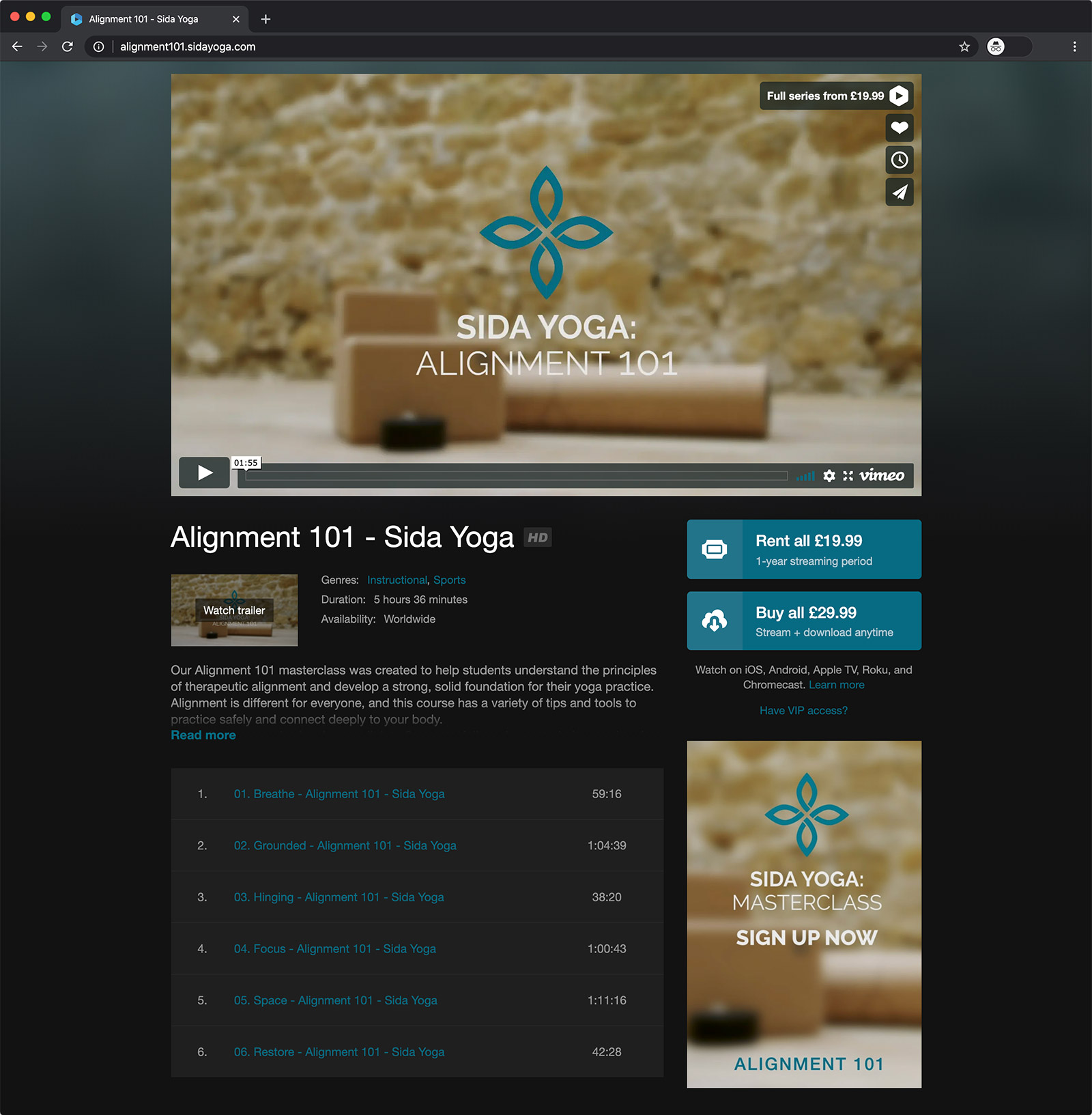 alignment 101 sida yoga vimeo on demand class online course rent buy preview british screenshot